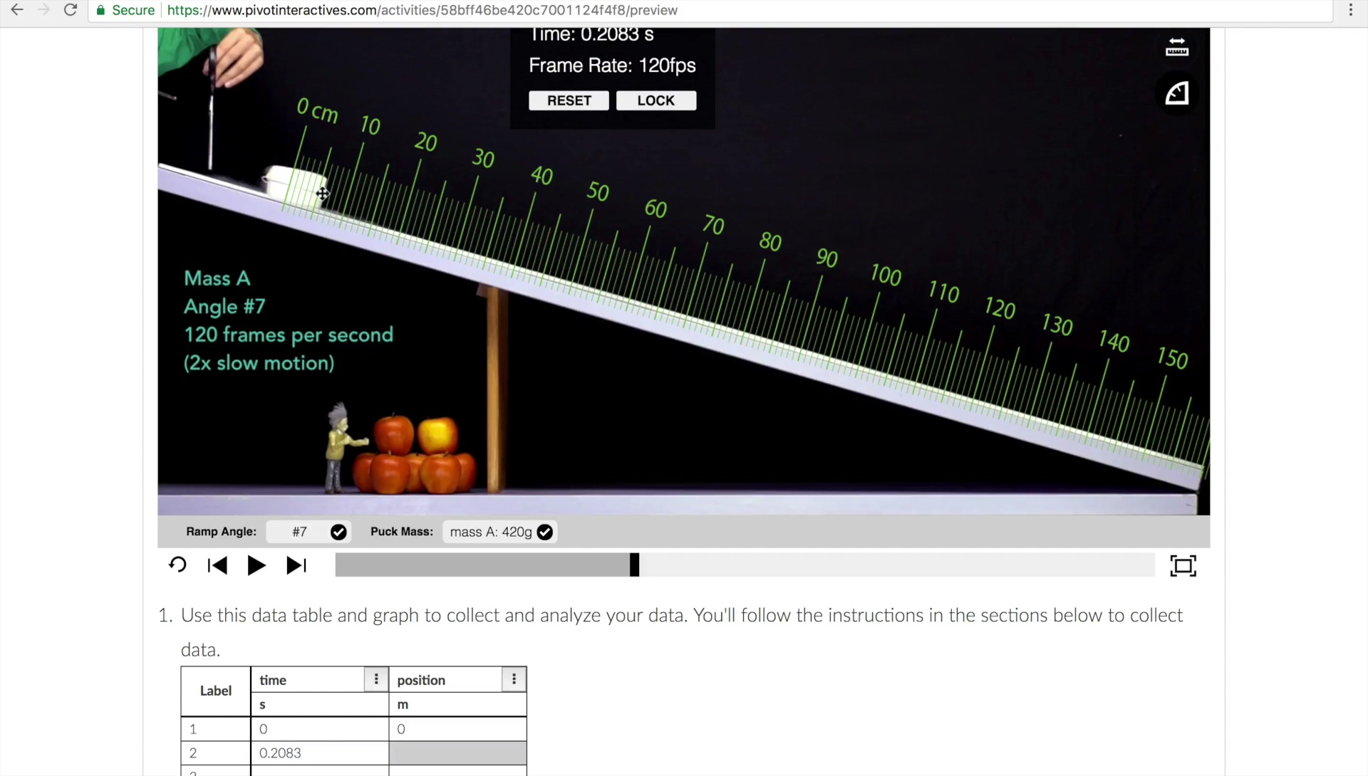 Pivot Interactives: Analyzing the Motion of a Dry Ice Puck on a Ramp video